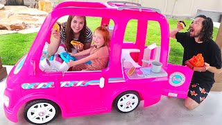 BARBIE DREAM CAMPER!! Adley Pretend Play with her first Power Wheels (backyard adventure routine)