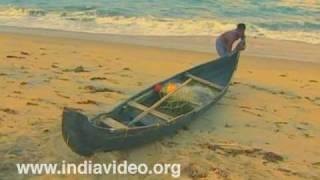 Fisherman sets out at Cherai beach
