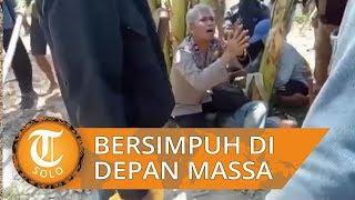 Kapolsek Cempa Iptu Akbar Bersimpuh di Hadapan Massa untuk Lindungi Pekerja Tambang Pasir di Pinrang