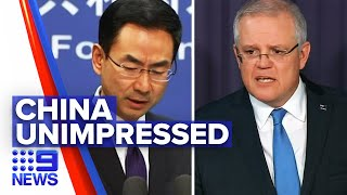 Coronavirus: China Dissatisfied Over Australia's Call For COVID Investigation | Nine News Australia
