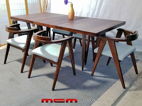 COMPLETE Mid-Century Modern 9 PIECE Compass Chairs ALLAN GOULD STYLE DINING SET