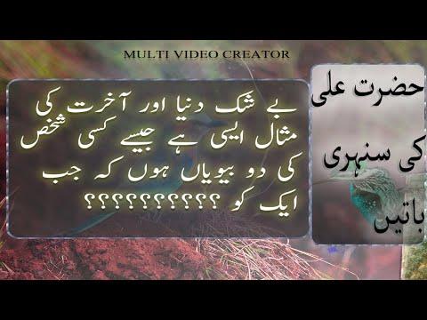 Hazrat Ali Quotes | Hazrat Ali (R.A) Heart Touching Quotes Part 1| Quotes in Urdu