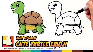 How To Draw Emoji Animals -  Turtle - Easy To Draw Turtle Step By Step For Beginners | BP