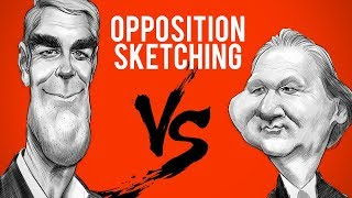 How To Caricature Difficult Faces With Opposition Sketching