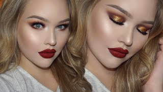 Gold Smokey Eyes - Classic Red Lips | Holiday Glam Makeup