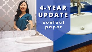 4-YEAR UPDATE || Marble Contact Paper Countertop + Removal!