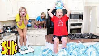 FLOOR IS FROZEN Lava Challenge Epic Dino Smashers Ice Age! SuperHeroKids Funny Family Videos