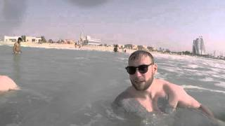 Swimming in Dubai by Burj Al Arab, UAE, 2015