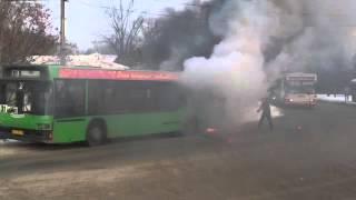 В Академгородке горит автобус ЧП Красноярск
