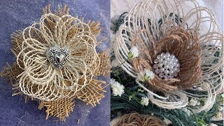 How To Make Burlap Fabric Flowers With Loops