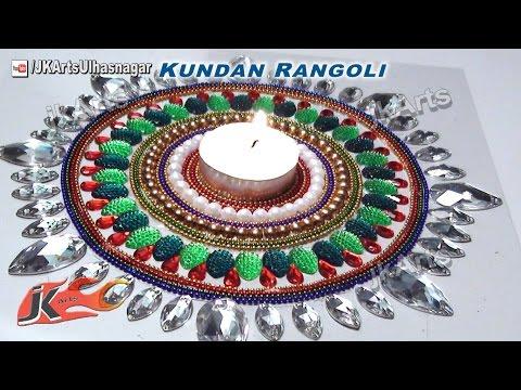 beautiful rearrangeble kundan rangoli design by jk arts