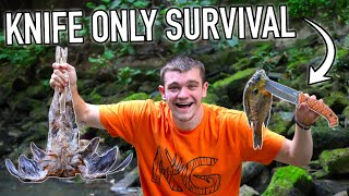 Knife ONLY Survival Challenge! (No Food, No Water, No Shelter)