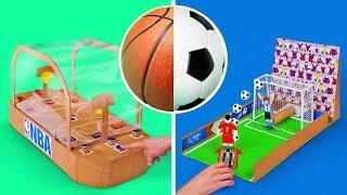 2 DIY Cardboard Football And Basketball Games