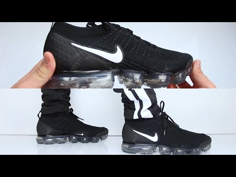 6d4ab36916e Nike air vapormax flyknit 2.0  black  unboxing on feet