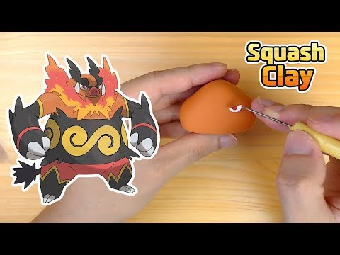 Sculpting Emboar cool Fire/Fighting Pokémon in clay