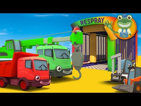 Learn Colours with Construction Trucks at Gecko's Garage | Car Wash Video for Kids