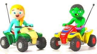 FROZEN ELSA & HULK PLAYING WITH MOTORBIKES ❤ Spiderman, Hulk & Frozen Play Doh Cartoons For Kids