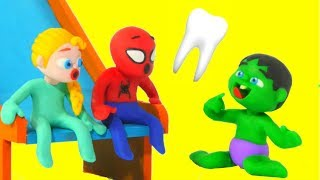 SUPERHERO BABY & THE TOOTH FAIRY ❤ Superhero Babies Play Doh Cartoons For Kids