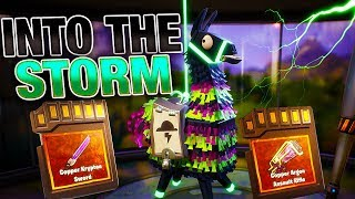 INTO THE STORM & Legendary Troll Truck Llamas OPENING! | Fortnite Save the World