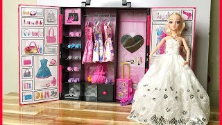 Đồ chơi BÚP BÊ & TỦ QUẦN ÁO HỒNG, thay quần áo trang điểm búp bê... Doll toys kids (Chim Xinh)
