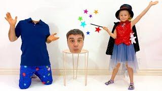 Nastya shows dad tricks