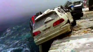 Gambar cover SEA STORM throws CARS vehicles trucks during WILD TYPHOON huricane WEATHER