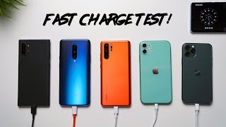 iPhone 11 vs iPhone 11 Pro vs Note 10+ vs P30 Pro vs OnePlus 7 Pro Charge Test!