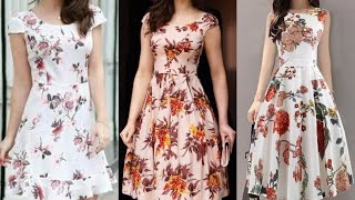 Simple And Beautiful Floral Prints Casual Wear Women Skater Dress Umbrella Dress A Line Frocks Desig