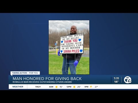 Romulus man honored by city for delivering meals to those in need even after losing mom to COVID-19
