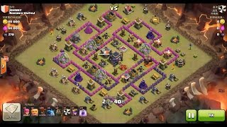 Clash of Clans TH9 vs TH9 Lava Hound & Balloon (Lavaloon) Clan War 3 Star Attack