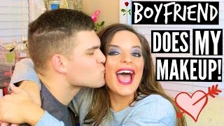 BOYFRIEND DOES MY MAKEUP! | Casey Holmes