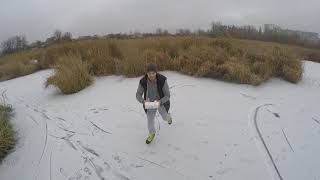 Ice skating on lake - fpv drone video
