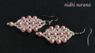 💞 Pretty In Pink Beaded Earrings    Pearl & Seed Bead DIY Earrings (0185)