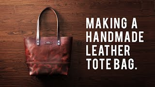 MAKING A HANDMADE LEATHER TOTE BAG - DIY BUILD ALONG - ASMR