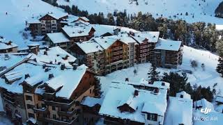 Les Ark 1950-2000 France ski resort village drone fly Top ski locations Europe tour 25.01.2019