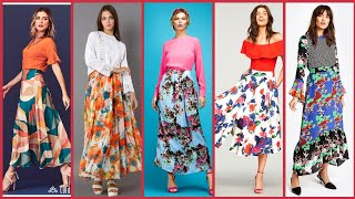 Stunningly Classic Floral Printed Long Midi Skirts Outfit Ideas For Work/Office Lady 2020