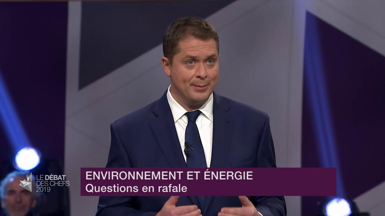 Andrew Scheer répond à la question du modérateur sur la lutte contre les changements climatiques