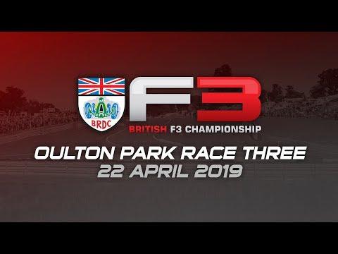 BRDC British F3 Championship, race three, Oulton Park 2019