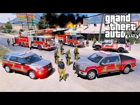 GTA 5 Firefighter Mod Sandy Shores Fire Department Ladder