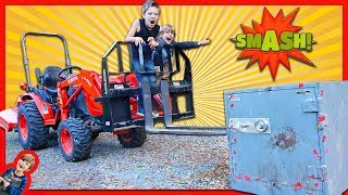 SMASHING OPEN ABANDONED SAFE WITH A TRACTOR! + (Is the Game Master Spying on Us?)