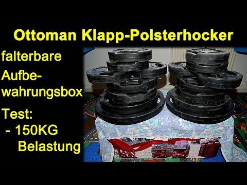 Ottoman Aufbewahrungsbox ,Klapp,- Polsterhocker, faltbarer Sitzhocker, Box London | 150KG Test