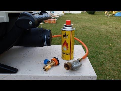 Gasadapter für Camping Flaschen am Grill