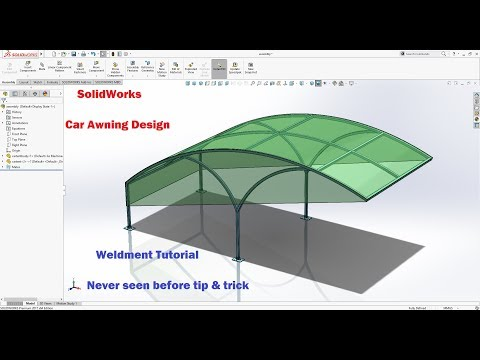 SolidWorks Tutorial | Weldment learn in 30 min. Car Awning Design