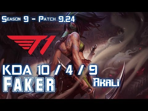 T1 Faker AKALI vs LUCIAN Mid - Patch 9.24 KR Ranked