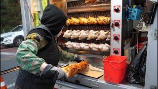 길가에서 싸게 파는 치킨, 트럭 통닭 구이 / Electric truck grilled chicken, run by grandmother-Korean street food