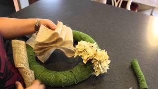 DIY Burlap Ribbon Wrapped Wreath | How to Make a Burlap Wreath - Artificial Plants and Trees | Kholo.pk