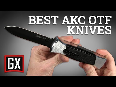 AKC 007 Concord Red/Black OTF Automatic Knife - Flat Black