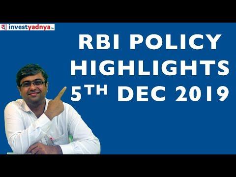 RBI Monetary Policy Highlights | 5th Dec 2019
