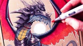 Lets Draw An ARMOURED DRAGON - FANTASY ART