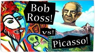 Bob Ross painting Picasso painting Bob Ross painting Picasso